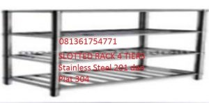 alat dapur Slotted rack 4 tiers stainless